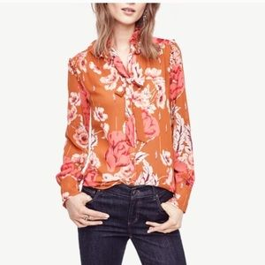 ANN TAYLOR// Floral Pussy Bow 70's Blouse